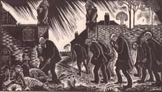 """Douglas Percy Bliss (1900-1984) """"The Poor House"""" wood engraving, 1925. Signed titled and dated. 129 X 225 mm. See """"The Woodcut of Today"""" by Malcolm Salaman, pg. 29."""