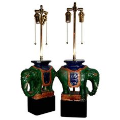 Pair of Vintage Chinese Porcelain Royal Elephants as Table Lamps | From a unique collection of antique and modern table lamps at https://www.1stdibs.com/furniture/lighting/table-lamps/