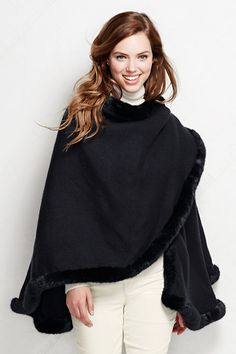Women's Faux Fur Trimmed Wrap.  Lovely for the Christmas season.