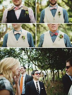Quirky men's bowties and vests for the wedding party, along with stylish aviator sunglasses and funky ties. Wedding Groom, Wedding Pics, Wedding Styles, Dream Wedding, Wedding Ideas, Grooms And Ushers, Groom And Groomsmen, Sister Wedding, Friend Wedding