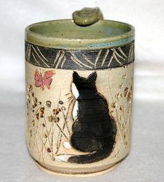 Handmade Ceramic Pottery Mug / Tuxedo Cat