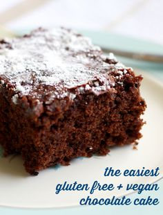 Super easy and super delicious gluten free and vegan chocolate cake recipe.