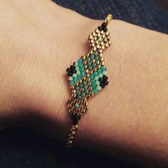Parure sautoir et bracelet en perles Miyuki, doré, bleu et noir