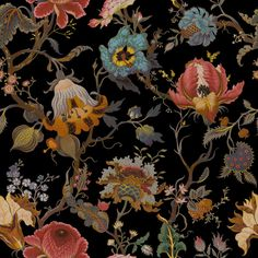 Designed in collaboration with William Morris, 'Artemis' is House of Hackney's non-conformist take on a traditional floral design. Inspired by D. Colorful Wallpaper, Black Wallpaper, Luxury Wallpaper, Fabric Wallpaper, Designer Wallpaper, Wallpaper Backgrounds, Wallpaper Paste, Room Wallpaper, Flower Wallpaper