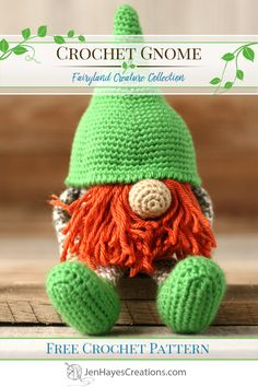 Meet Norbin Nibbleweed the orange bearded Gnome! A free crochet pattern for a cute gnome (or leprechaun if you wish). He's perfect as a toy, a gift, a decoration, or as a fun piece of festive holiday decor. Cute Crochet, Crochet Crafts, Crochet Projects, Crochet Angels, Crochet Birds, Crochet Geek, Crochet Food, Pokemon Crochet Pattern, Crochet Amigurumi Free Patterns