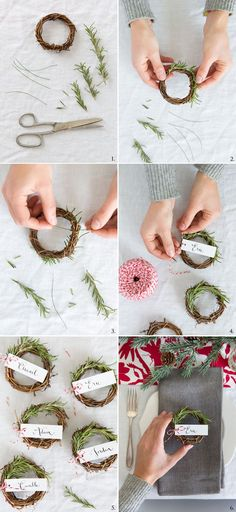 DIY rosemary wreaths for a holiday place card. Cute! (Diy Wreath)