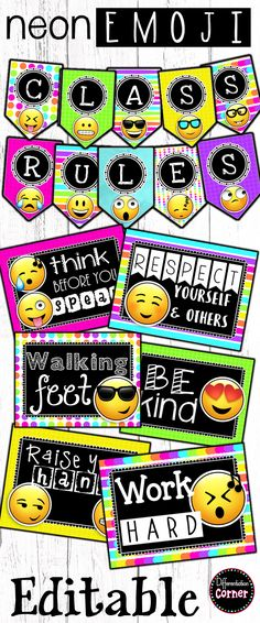 Neon Emoji Classroom Decor Classroom Rules posters and banner set includes 24 full color printable pages (8.5x11) of 12 common classroom rules. Posters come with your choice of white or black background. Included are 24 fully editable posters and two styles of banners to customize your class rules or create other classroom posters and banners as you need. These are in a PowerPoint file.