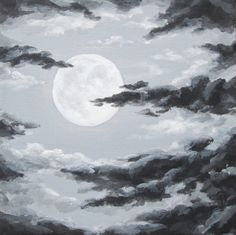 Original Night Sky Painting Moon and Clouds by ABFoleyArtworks on Etsy