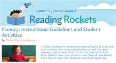 Fluency: Instructional Guidelines and Student Activities Partner Reading, Student Reading, Texas Education Agency, High Frequency Words, Reading Fluency, Rockets, Read Aloud, Comprehension, Theatre