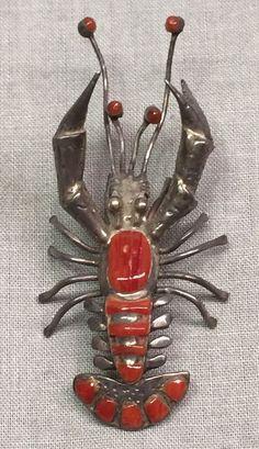Antique Pink Coral & Sterling Silver Brooch/ Pendant Crayfish Lobster Crawfish