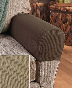 Set Of 2 Stretch Sofa Armrest Covers Couch Chair Seat Protectors Tan Fabric