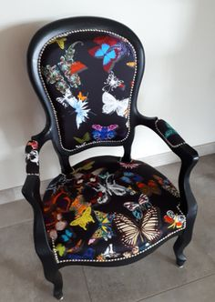 butterfly fabric parade christian lacroix for Louis Philippe armchair, sold by … Funky Chairs, Colorful Chairs, Vintage Chairs, Funky Furniture, Upcycled Furniture, Painted Furniture, Chair Makeover, Furniture Makeover, Painted Chairs