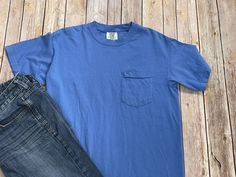 Monogrammed Pocket Tee - short sleeve blue Comfort Colors Monogram Pocket Tees, School Spirit Wear, Embroidered Gifts, Altering Clothes, Comfort Colors, Personalized T Shirts, Shoulder Taping, Sleeves, Mens Tops