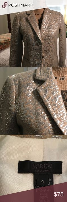 J Crew Collection Blazer Another beautiful metallic blazer from the Collection series.  In excellent condition, this stunning blazer can be worn dressed up or with jeans! J. Crew Jackets & Coats Blazers