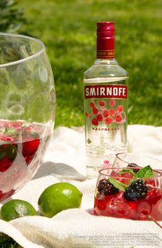 This Memorial Day try the Berry Picnic Punch for your outdoor party or BBQ. Ingredients: 1.5 Cups Smirnoff Raspberry, 3 Cups Ocean Spray© Cranberry Juice Cocktail, Simple Syrup, Lime Juice, Water, Raspberries and Blackberries, Serves 8