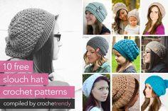 10 Free Slouch / Slouchy Hat Patterns  |  via Crochetrendy