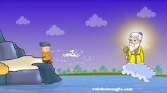 truyện cổ tích ba chiếc rìu_ ông lão ngoi lên mặt nước cằm một chiếc rìu bạc