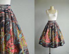 Vintage 1950s Skirt / 50s Scenic Border Novelty by zestvintage