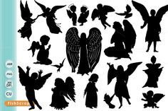 Guardian Angel Clip Art, Christian Graphic Supplies, Angel Silhouettes, Easter Digital Design Images, Church Newsletter ClipArt by FishScraps on Etsy Angel Silhouette, Silhouette Clip Art, Silhouette Images, Angel Wings Png, Angel Clipart, Silhouettes, Photoshop Brushes, Clipart Images, Christmas Angels