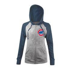 Chicago Cubs Women's Tri-Blend Fleece Zip-Up Hoodie #ChicagoCubs #Cubs #FlyTheW SportsWorldChicago.com