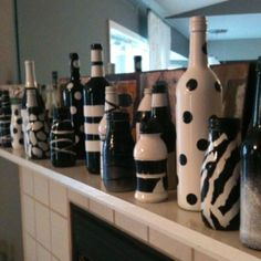 Black and white party!! Spray painted bottles
