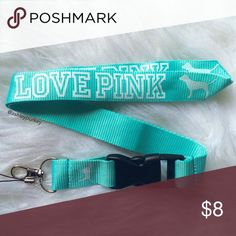 ❤️SALE❤️ mint and white VS Pink lanyard ❄️ great stocking stuffer! ❄️  •1 lanyard   •price is firm  •bundle to save!  •no trades PINK Victoria's Secret Accessories Key & Card Holders