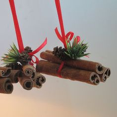 Bunch of cinnamnon sticks, Christmas decorations, Christmas Tree ornaments, set of 3, Brown Red Green