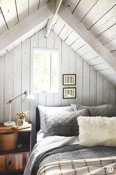 Bring warmth into your bedroom with a mix of natural woods, soft lighting and rich textures—think faux fur! When fall hits and temperatures drop, a cozy place to sleep is a must. Add a plaid quilt to the end of the bed for those extra-chilly nights.
