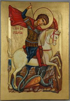 High quality hand-painted Orthodox icon of St George and the Dragon. BlessedMart offers Religious icons in old Byzantine, Greek, Russian and Catholic style. Saint George And The Dragon, Paint Icon, Christian Religions, Biblical Art, Religious Icons, Orthodox Icons, Roman Catholic, Byzantine, Christianity