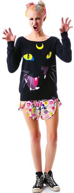 Kill Star Luna Slouchy Sweatshirt | Dolls Kill (i like that hair)