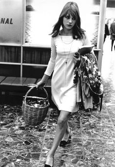 Jane Birkin - cute simple 60s dress and the famous basket that led to designing the Birkin bag with Hermès
