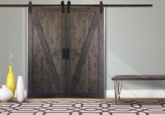 Custom Configured Double Z Barn Door Kit in Industrial Grey stain with Flat…