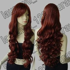 """32"""" Heat Resistant Big Spiral Curl Dark Copper Red Cosplay Wig Free Shipping 