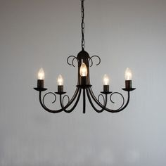 """The """"Hambleton"""" Collection - 5 Arm Wrought Iron Chandelier"""