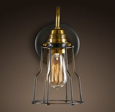 """5½""""W x 8""""D x 10¼""""HIndustrial Cage Filament Sconce"""