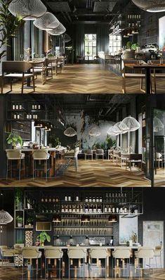 "Restaurant # ""One"" # – # Galerie # - Moderne Inneneinrichtung Cafe Restaurant, Luxury Restaurant, Restaurant Lighting, Modern Restaurant, Cafe Bar, Restaurant Interior Design, Modern Interior Design, Espace Design, Deco Zen"