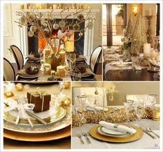 decoration table noel or dore arbre de table cone boite cadeau