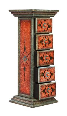 """Bulk Wholesale Hand-Crafted 28"""" Wooden Jewelry Box in Distressed Orange & Blue Color with 5 Chest Drawers Decorated with Traditional-Look Motifs – Vintage-Look Box from India"""