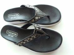 Women RARE COACH Signature Black Leather Flip Flops Sandals Latrice Size 5 MINT #Coach #FlipFlops