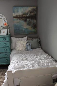 Ruffles Guest Bedroom with Twin Beds; ruffle comforter (Bella Lux)