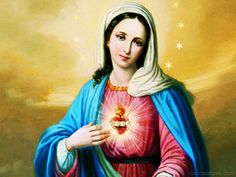 Sacred Heart of Mary Blessed Mother Mary, Divine Mother, Blessed Virgin Mary, Queen Mother, Lady Madonna, Madonna And Child, Religious Icons, Religious Art, Hail Holy Queen
