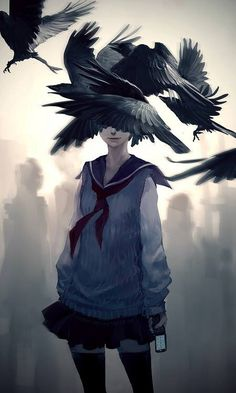 """yuumei-art: """" Just when I said I wanted to draw more whimsical fantasy, this came out instead. Modern day reinterpretation of Edgar Allan Poe's The Raven. (Part of the Poe series. View The Black Cat. Yuumei Art, The Raven, Fisheye Placebo, Pixiv Fantasia, Drawn Art, Image Manga, Estilo Anime, Cool Artwork, Artwork Design"""