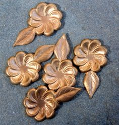 8 Brass vintage flower with leaf findings by debsdesigns401 on Etsy