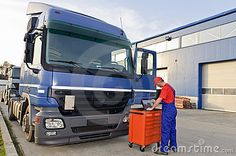 Photo about Mechanic near big truck with computer tester equipment looking at diagnostic screen. Image of drive, broken, auto - 17092629 Truck Engine, Big Trucks, Engineering, Vehicles, Cars, Autos, Car, Car, Automobile