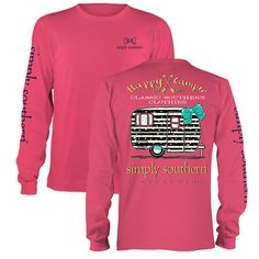 Simply Southern Preppy Happy Camper Arrows Long Sleeve T-Shirt Available in sizes- Adult S,M,L, XL,2X