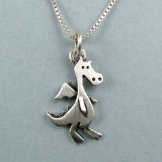 Tiny dragon necklace by StickManJewelry on Etsy