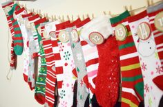 Advent calendar idea. Can use adult socks or baby socks. Stuff socks with small gifts or candy.