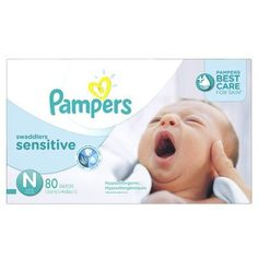 Pampers Swaddlers Sensitive Newborn Diapers ( Size 0, 80 Count )