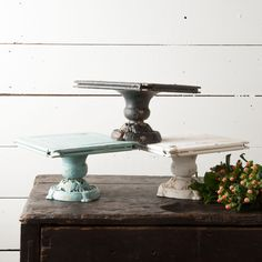 This cake stand comes in an antique cream. Great for parties and weddings! Use it to display sweets and treats or as a centerpiece! It is metal with a distresse