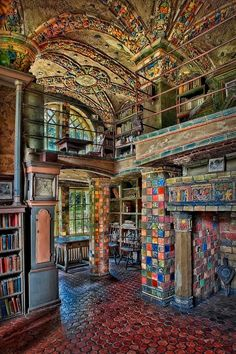 Bibliotheca Sanctus — Fonthill Castle Library in Doylestown,...
